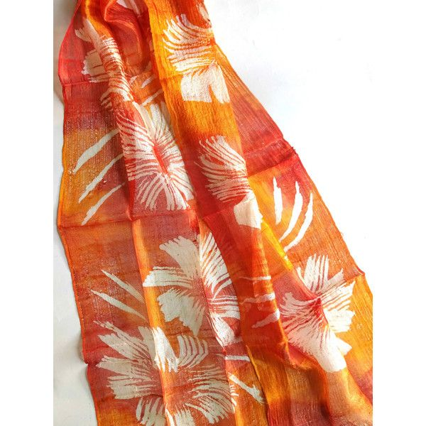 Orange Silk Scarf Hand Dyed Handwoven Light Weight Batik Natural Pure Raw Silk Wedding Accessories Handmade Wedding Gift For Her (€15) found on Polyvore featuring women's fashion, accessories, scarves, orange scarves, silk scarves, light weight scarves, orange silk scarves and batik scarves
