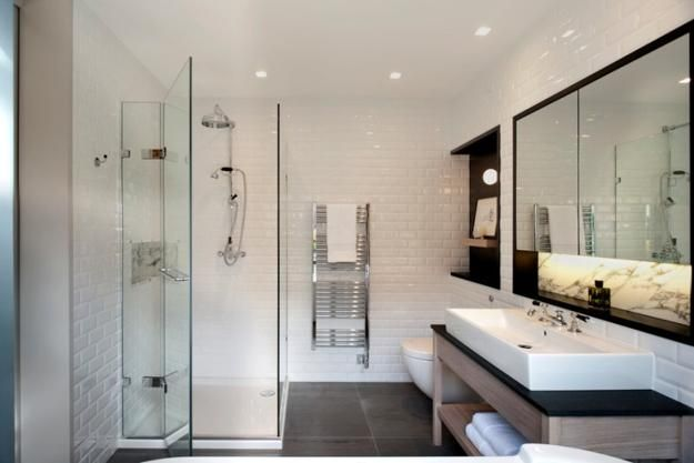Small bathroom design calls for space saving and functional solutions, elegant and compact layout and light room colors