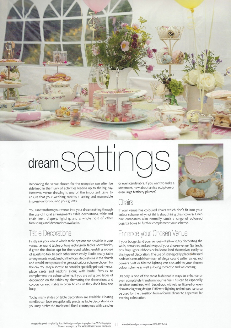 """Fuschia's vintage products and styling has featured in an article called """"Dream Settings"""" in the current edition (January 2013) for Bride & Groom Magazine North Wales."""