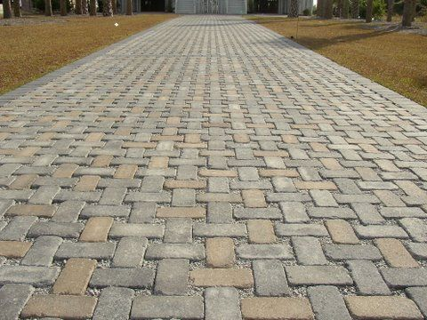 100% Pervious Hollandstone Concrete Paver Driveway   Modified Basketweave  Pattern