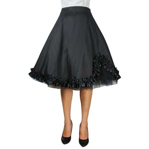 Chic Star Plus Size Satin Ruffled Skirt Black
