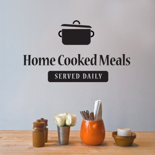 this cool diner wall sticker features the home cooked meals served daily quote - Home Decor Quotes