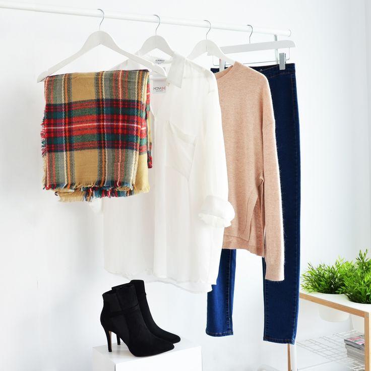 SCRAF CHECKED I WHITE SHIRT I  MONASHE.PL - Sklep online z modną odzieżą. Bluzki, sukienki, torebki, obuwie, akcesoria.