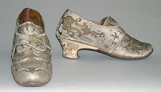 Shoes, 1720–40, European, silk, leather, wood, metallic. (c) Metropolitan Museum of Art