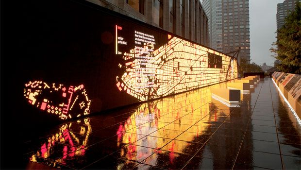 Located on Jaffe Drive at Lincoln Center in New York, the THINK exhibit combines three unique experiences to engage visitors in a conversation about how we can improve the way we live and work.  Data wall  Visitors approaching the exhibit are drawn in by striking patterns displayed on a 123-foot digital wall. The wall visualizes, in real time, the live data streaming from the systems surrounding the exhibit, from traffic on Broadway, to solar energy, to air quality. Visitors discover how we c...Data Walls, Air Quality, Measuring Nyc, Ibm Interactive, Jaffe Drive, Data Visualization, Exhibitions Design, Lincoln Center, Real Time