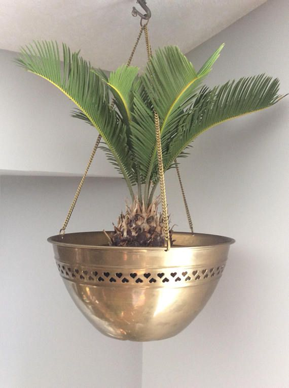 Vintage hanging brass planter with chain cauldron style