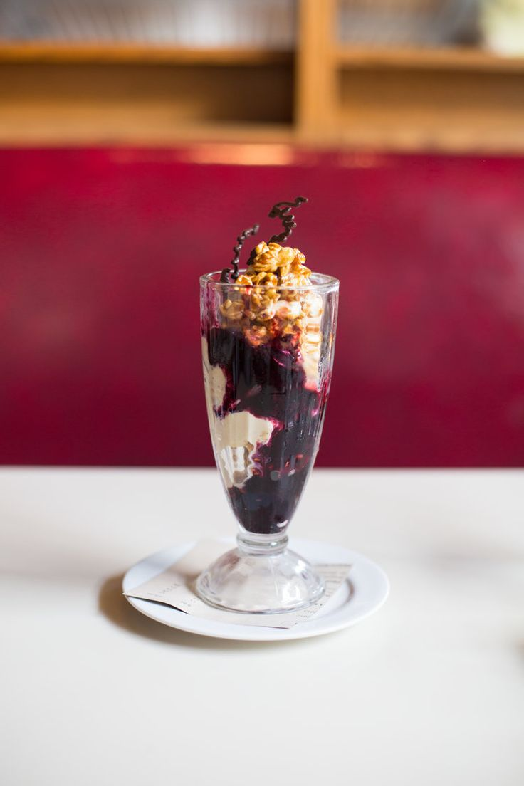 Blueberry, coffee + popcorn sundae at Cookshop, Chelsea, NYC | The Desserts Of New York cookbook