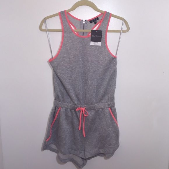 TOPSHOP Elastic Waist Silver Playsuit Brand new, never worn with tags (NWT). No trades. Feel free to ask any questions and thank you for stopping by!  Topshop Other