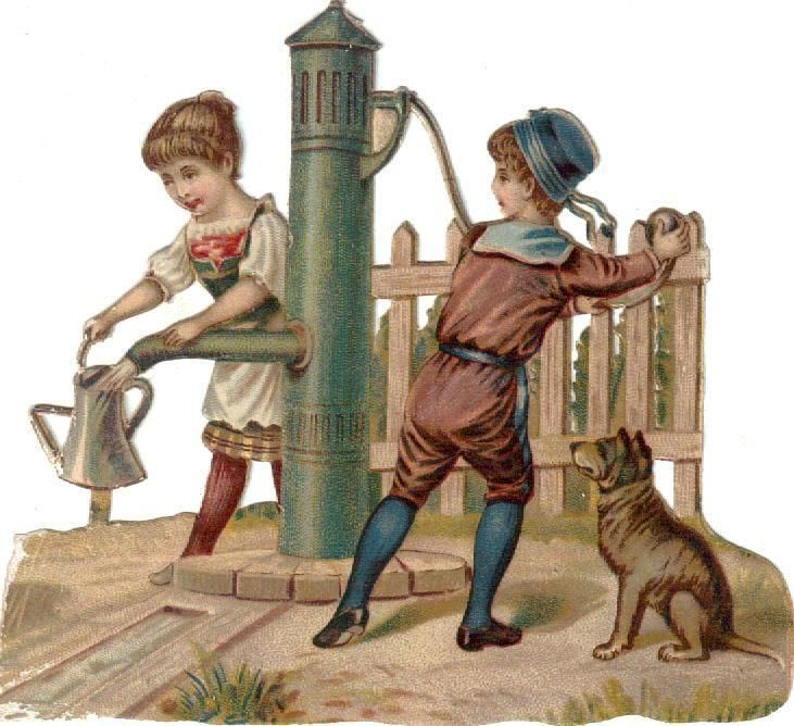 Victorian Die Cut Scrap Kids Draw Water from Well c1880