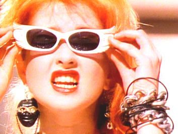 love Cindi Lauper's 80's sunglasses.  wish someone was selling similar ones.