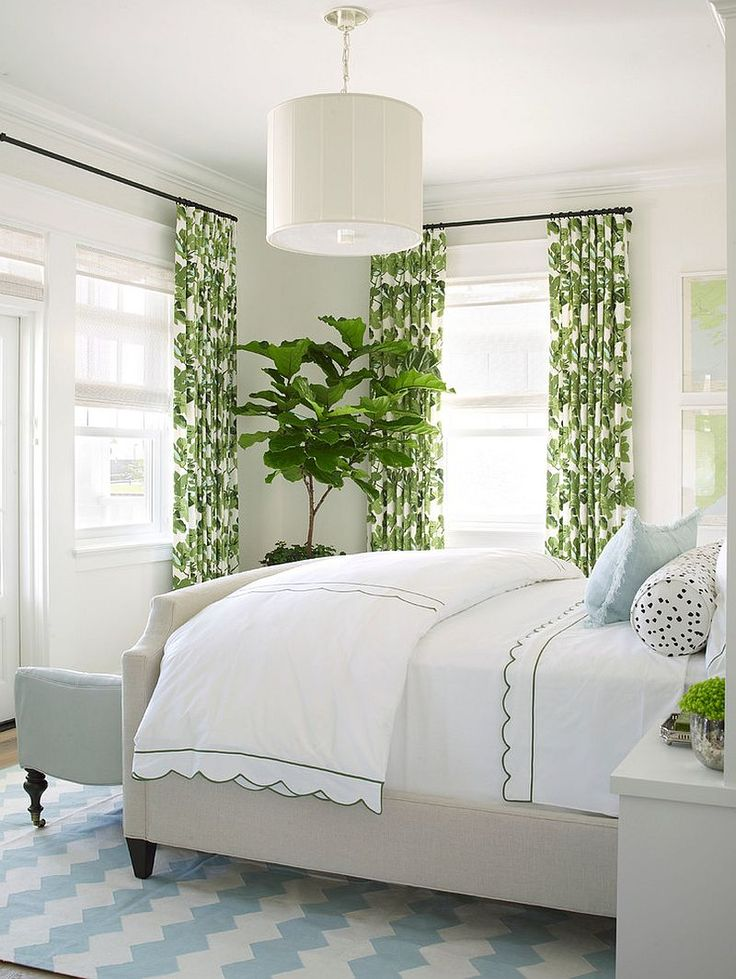 Drapes and fiddle-leaf fig tree add color to the white bedroom [Design: Burnham Design]