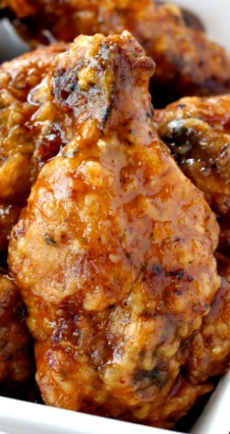 Whiskey Wings ~ Crunchy, deep fried wings tossed in a sweet whiskey glaze - or you can bake them too