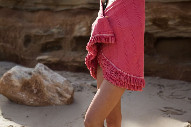 Our New Stonewash Round towel comes in four delightful colours - Black, Coral, Cobalt Blue and this amazing Coral! Available online now at www.knotty.com.au