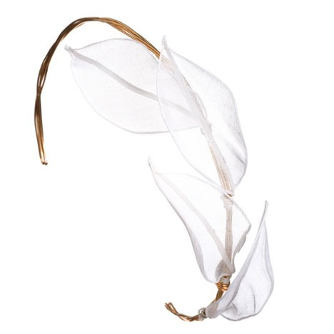 Amanda Pearl White Organza Headpiece: Inspiration for a wedding? $108. (Also available with gold leaves.)