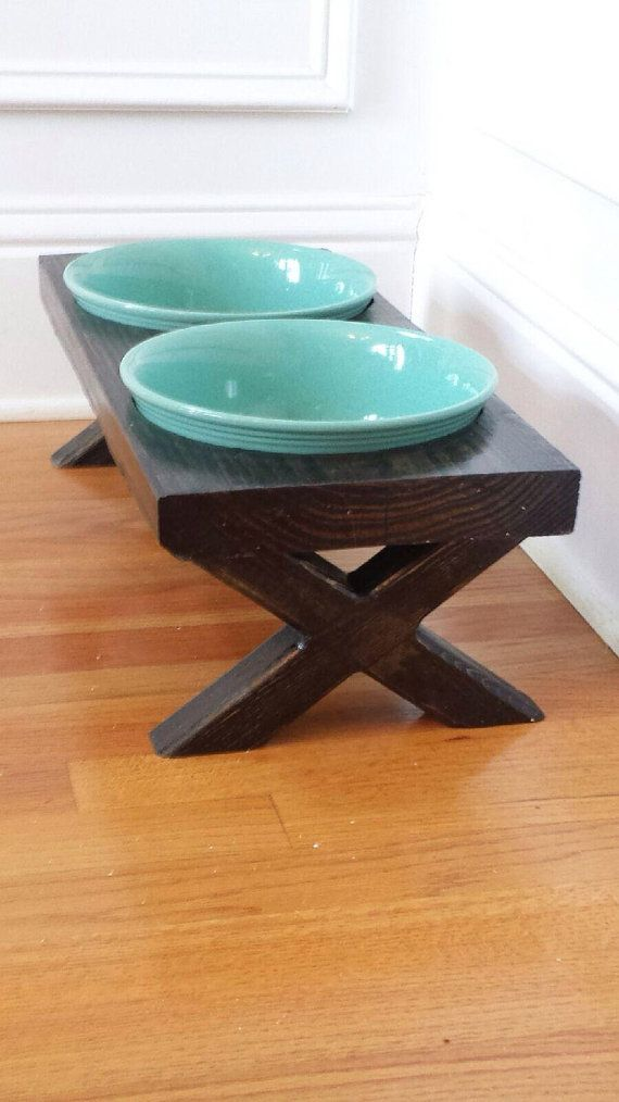 Xl Farm Table Dog Bowl Dish Feeder Raised By Hout1design