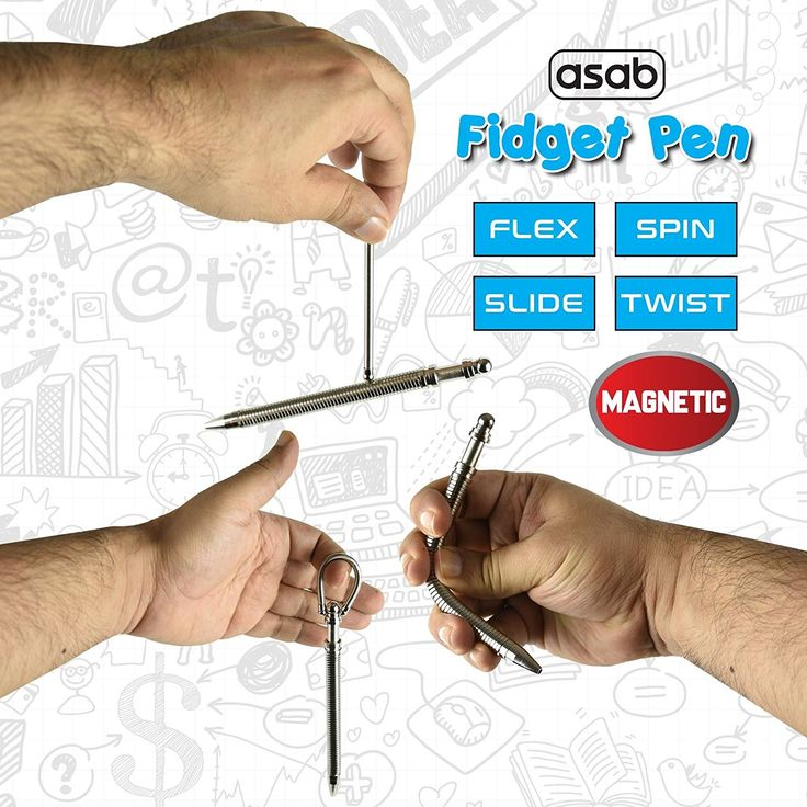 ASAB Magnetic Fidget Pen Metal Roller Spring Flex Ball Point Decompression Stress Relief Creative Anxiety Toys ADHD Autism Need: Amazon.co.uk: Office Products