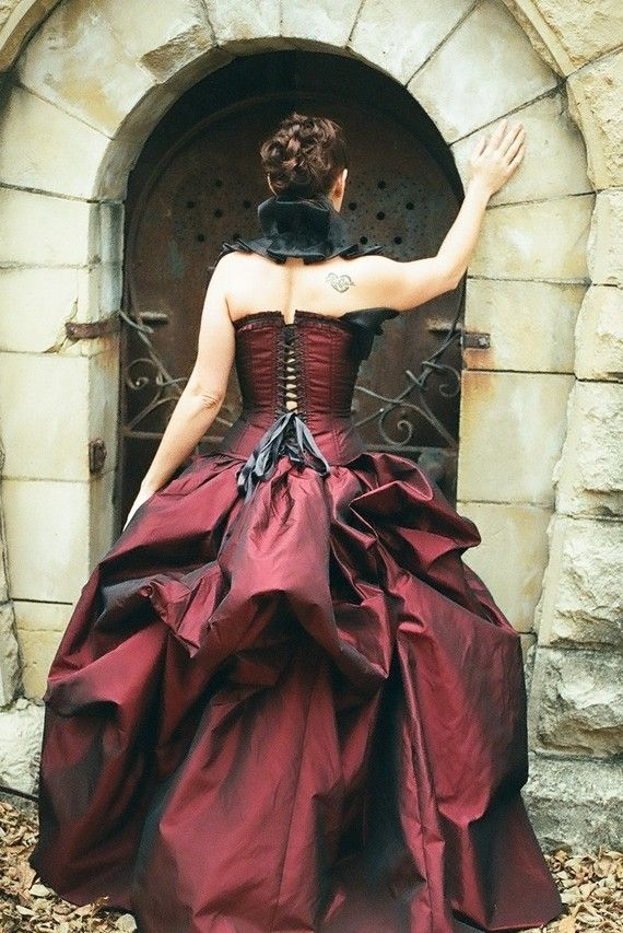 Bustle gown red bustle gown victorian gothic prom gothic for Steampunk corset wedding dress