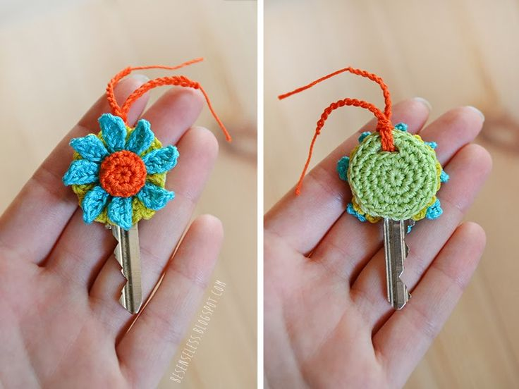 Crochet Key Cover with Flower