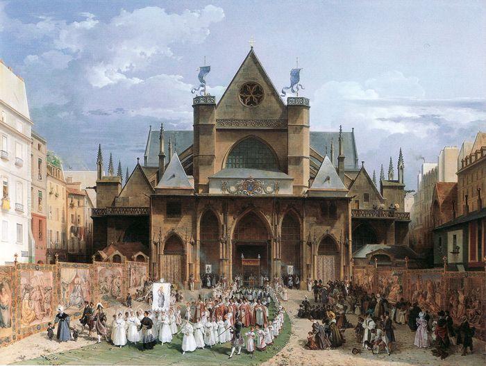 Procession de la Fête-Dieu à Paris en 1830 – Sortie de procession par Turpin de Crissé