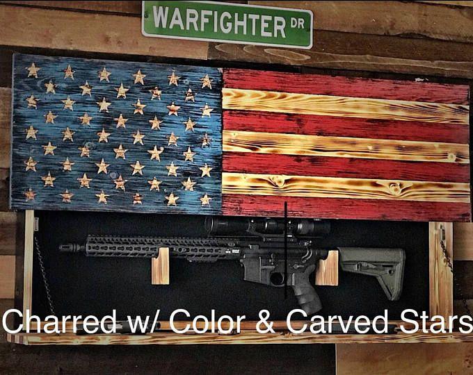 Hidden Gun Storage, American Flag Gun Storage, Hidden Gun Cabinet, Flag, Gun Cabinet, Gift for Him, Christmas Gift, Secret Compartment Flag #ad