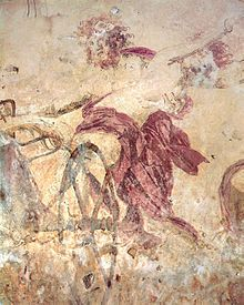 Hades abducting Persephone, wall painting in the small royal tomb at Vergina. Macedonia, Greece
