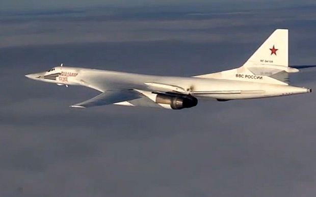 Russian air force Tu-160 bomber flies a combat mission as part of a Russian air…
