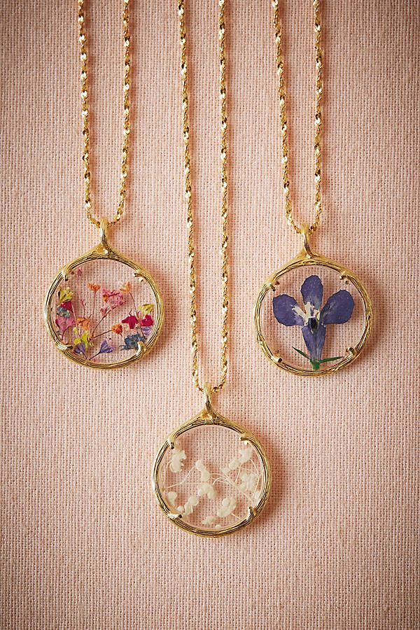 Slide View: 1: Pressed Flower Necklace