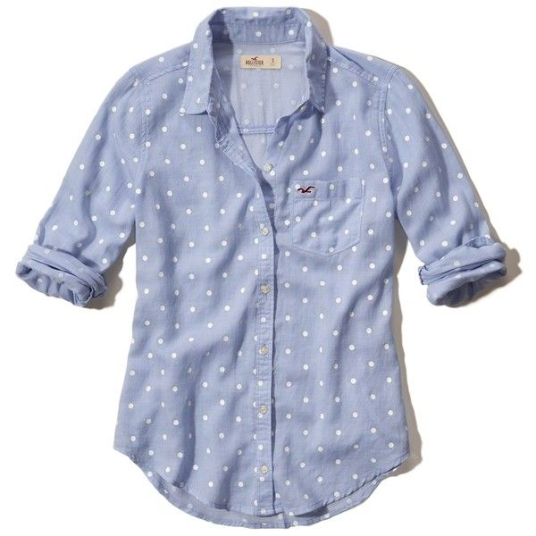 Hollister Polka-Dot Oxford Pocket Shirt (115.825 COP) ❤ liked on Polyvore featuring tops, hollister, light blue dot, light blue top, cotton oxford shirt, blue shirt, preppy shirts and light blue oxford
