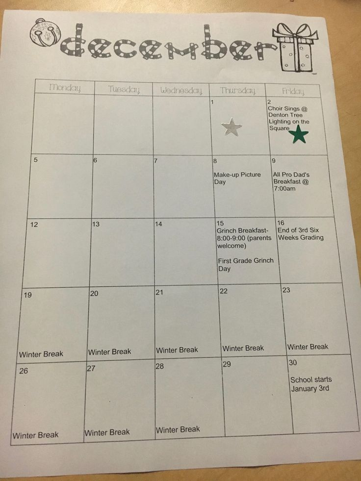 Monthly calendars home