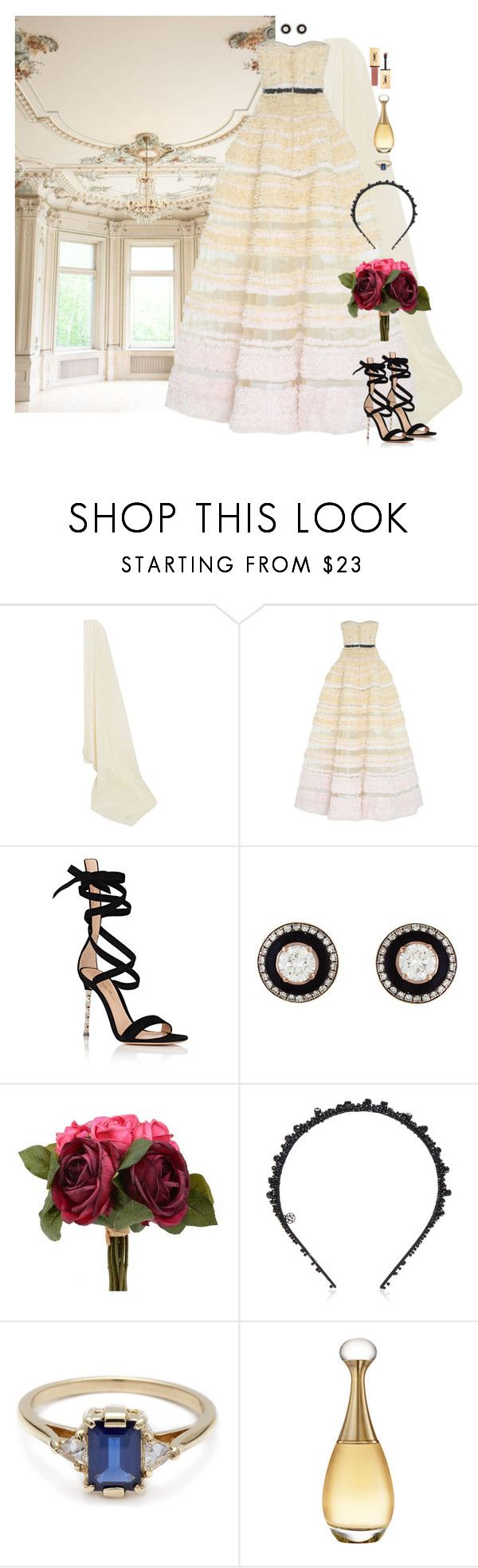"""""""The Ballroom Bride"""" by xoxomuty on Polyvore featuring Etro, Marchesa, Gianvito Rossi, Selim Mouzannar, BEA, Christian Dior, Yves Saint Laurent, bride, ootd and wedding"""