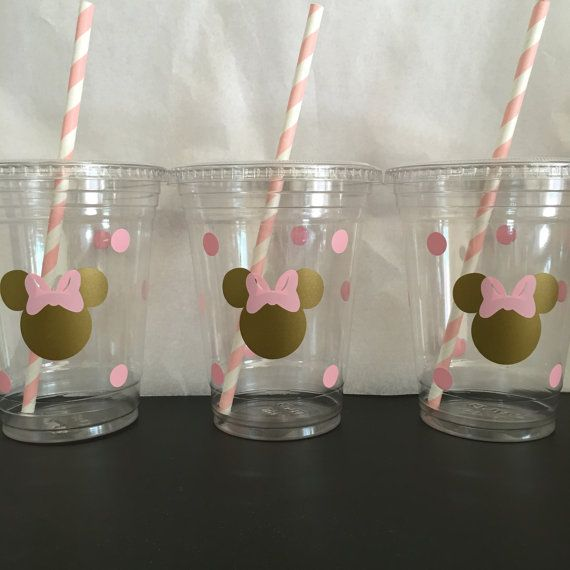 Minnie Mouse pink and gold party cups Gold and by DivineGlitters