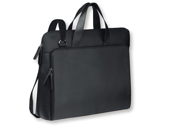 The Cosmopolitan Briefcase made from genuine Nappa leather has soft carry handles, a shoulder sling and a padded computer compartment. It is fully lined and fits most 15.4″ laptop screens. The front zipper pocket contains a credit card section, pen loops and a document holder.