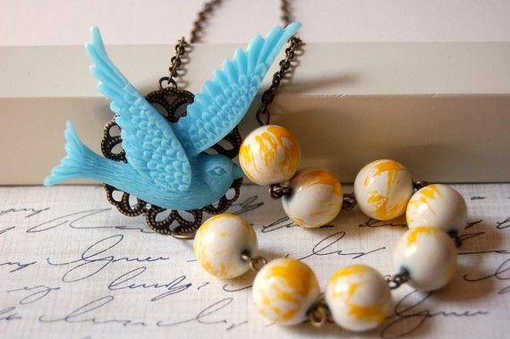 Asymmetrical Blue Bird Necklace @BrittanyChavers shop on Etsy - I've bought a couple her necklaces and LOVE them!