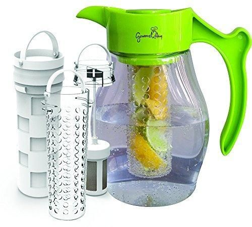 SPECIAL - Fruit & Tea Infusion Pitcher - FREE Beverage Infused Recipe Ebook - Water & tea infuser jug includes 3 infusers for fruit tea and ice to enhance the flavor of water - Perfect for detox
