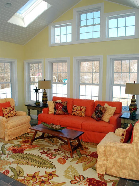 Archive Simple Red And Orange Minimalist Living Room