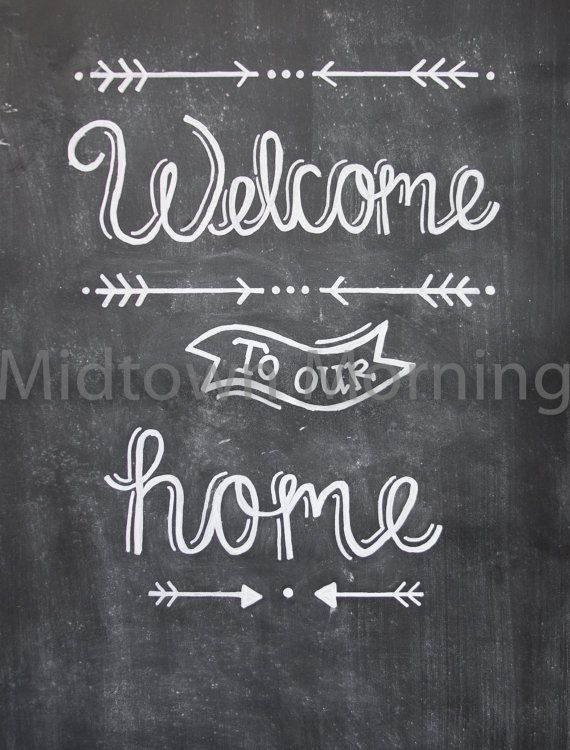 welcome to our home chalkboard print by midtownmorning on etsy
