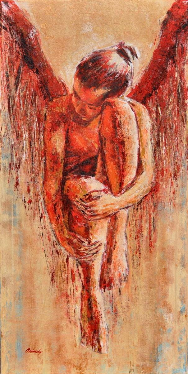 Fallen Angel II HUGE ANGEL painting by belanszkypainting on Etsy