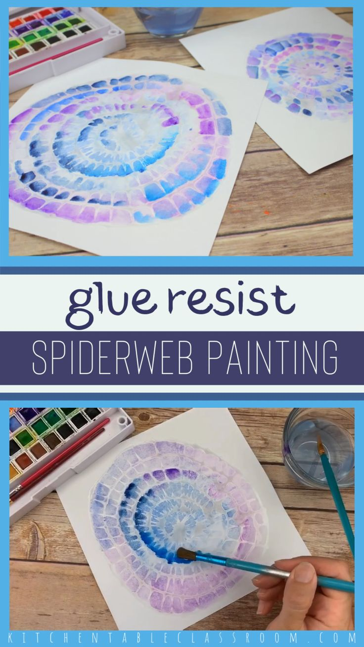 Glue Resist Spiderweb Painting