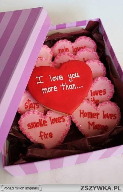 Pudełko ciasteczek na prezent, lukrowane ciasteczka serduszka, walentynki, powody miłości, kocham cię bardziej niż, prezent dla chłopaka, rocznica