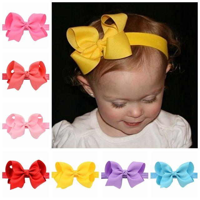 20 pz/lotto infantile delle ragazze della fascia testa involucri elastici grosgrain archi dei capelli del diadema del bambino fasce accessori per capelli 608