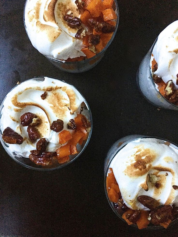 Sweet Potato Meringue Trifle with Candied Pecans
