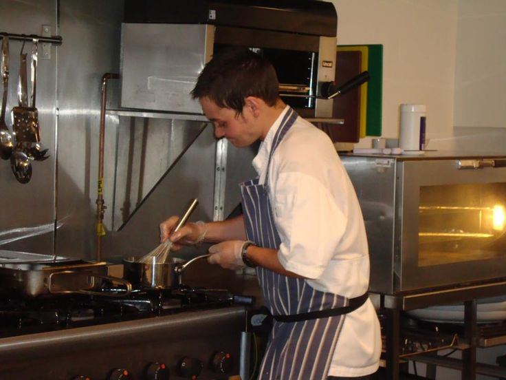 Guest Chef Andrew Maclugash cooking up a storm in the Auchindrain kitchen.