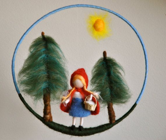 Waldorf inspired needle felted doll mobile: The Little Red Riding Hood Fairy Tale via Etsy