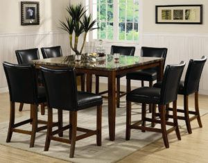 9 Piece Marble Dining Table Set