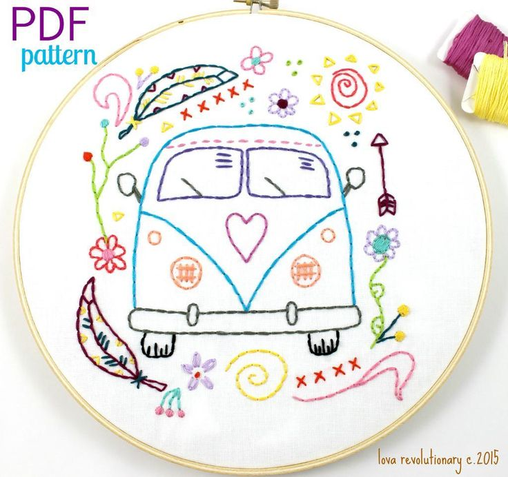 (10) Name: 'Embroidery : Hippy Van Bus Hand Embroidery Pattern