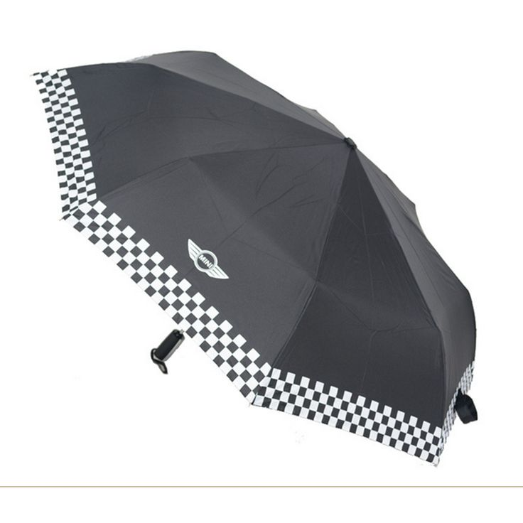 Black Checkered Automatic Folding Umbrella For BMW MINI Cooper S R50 R53 R56 R60 F55 F56 Clubman Countryman Roadster Paceman -- Continue to the product at the image link.