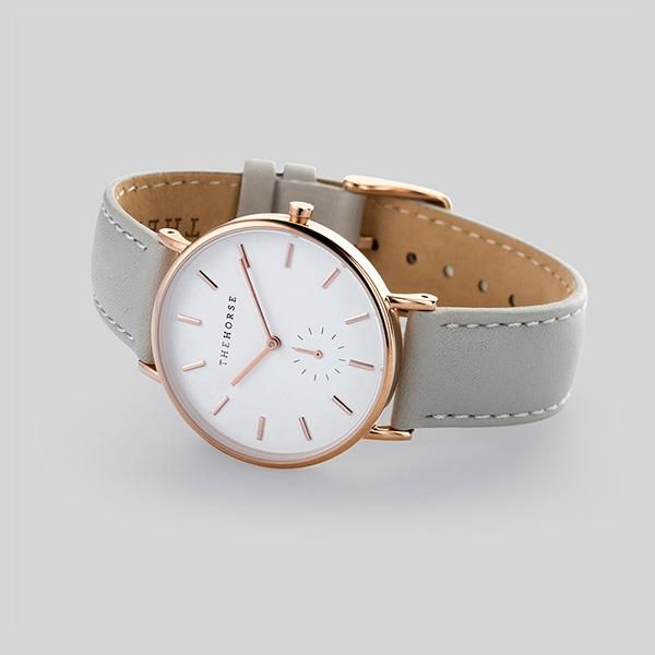 Rose Gold Watch with Grey leather band - $189