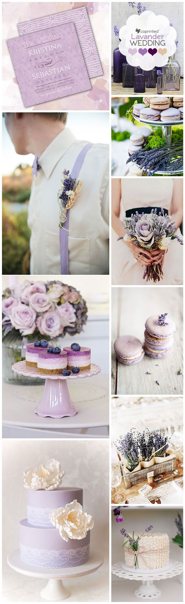Lavender Inspiration Board:http://www.coprinted.com/blog/lavender-weddings-inspiration-board/