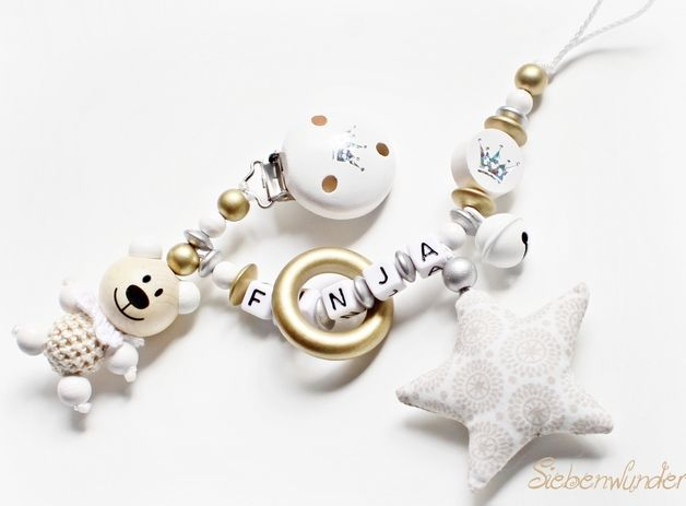 Dummy Chains – Pacifier Chain with Name – a unique product by siebenwunder-schnullerkette on DaWanda