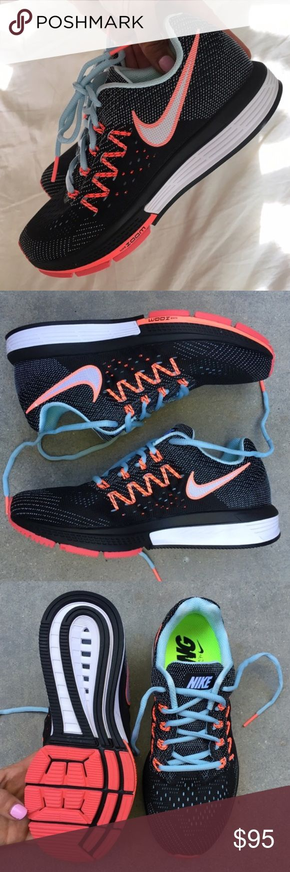 NWOB NIKE VOMERO 10 sz 7 women's available New never worn Nike VOMERO. Black / ice blue / hot lava SIZES AVAILABLE.. 7 woman's. no box ships in a new shipping box each shoe wrapped nicely in tissue 🤗  For the serious runner! 👟 or to look CUTE! Flymesh upper w/ Flywire technology. Dual-density Cushlon midsole. Duralon rubber in the forefoot and high-abrasion rubber in the heel for a winning combination of traction and cushion. Ships same or next day. Bundle to save. Nike Shoes Athletic…